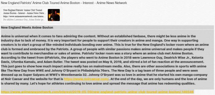 New England Meets Anime Boston Lynzee Loveridge and New England Patriots' Anime Club Toure ...
