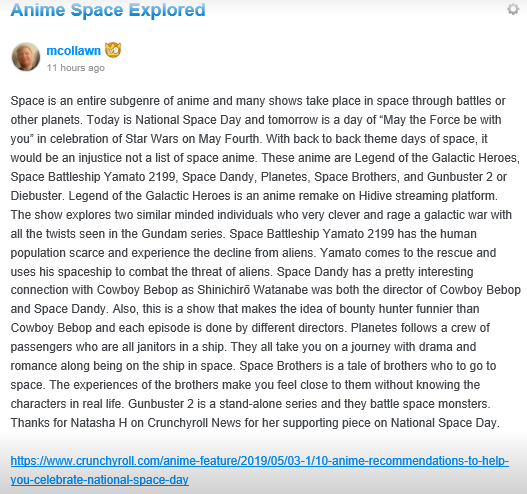 Anime Space Explored  Natasha H. and 10 Tep Anime for National Space Day
