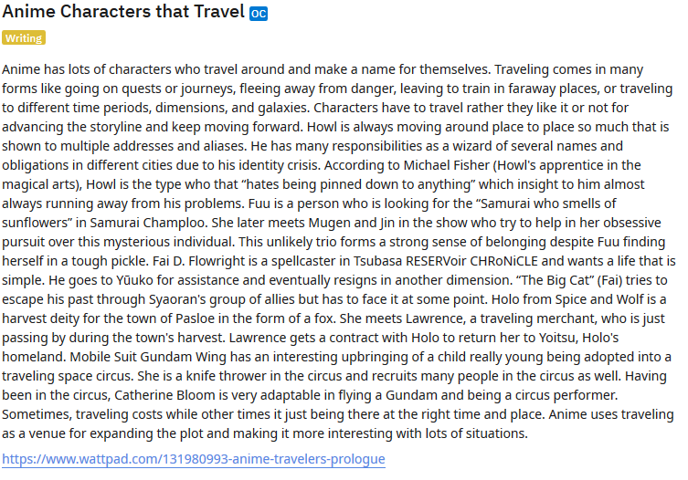 Anime Characters that Travel  Traveling is a plot line and drives an anime's vision.