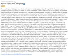 Formidable Anime Weapons  Warfare and Weapons go-in-hand-to-hand. Anime has a lot of them!