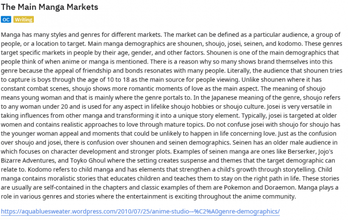 The Main Manga Markets   Manga tells stories and Targets Those Stories to Age Demographics