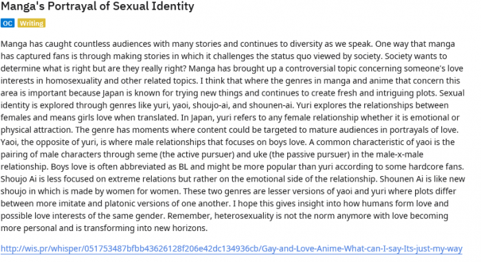 Manga's Portrayal of Sexual Identity   See How Manga Demonstrates Sexuality Identity